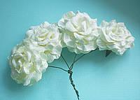 Бумажный цветок роза для скрапбукинга диаметр 5 см Ivory кремовые, фото 1