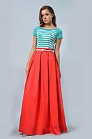 Эффектная юбка в пол с широким притачным поясом