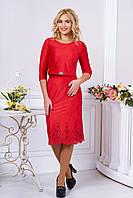 Красный женский костюм с юбкой карандаш
