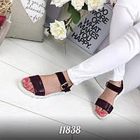 Красивые натуральные замшевые босоножки, сандалии =NIK_ART= цвета марсала