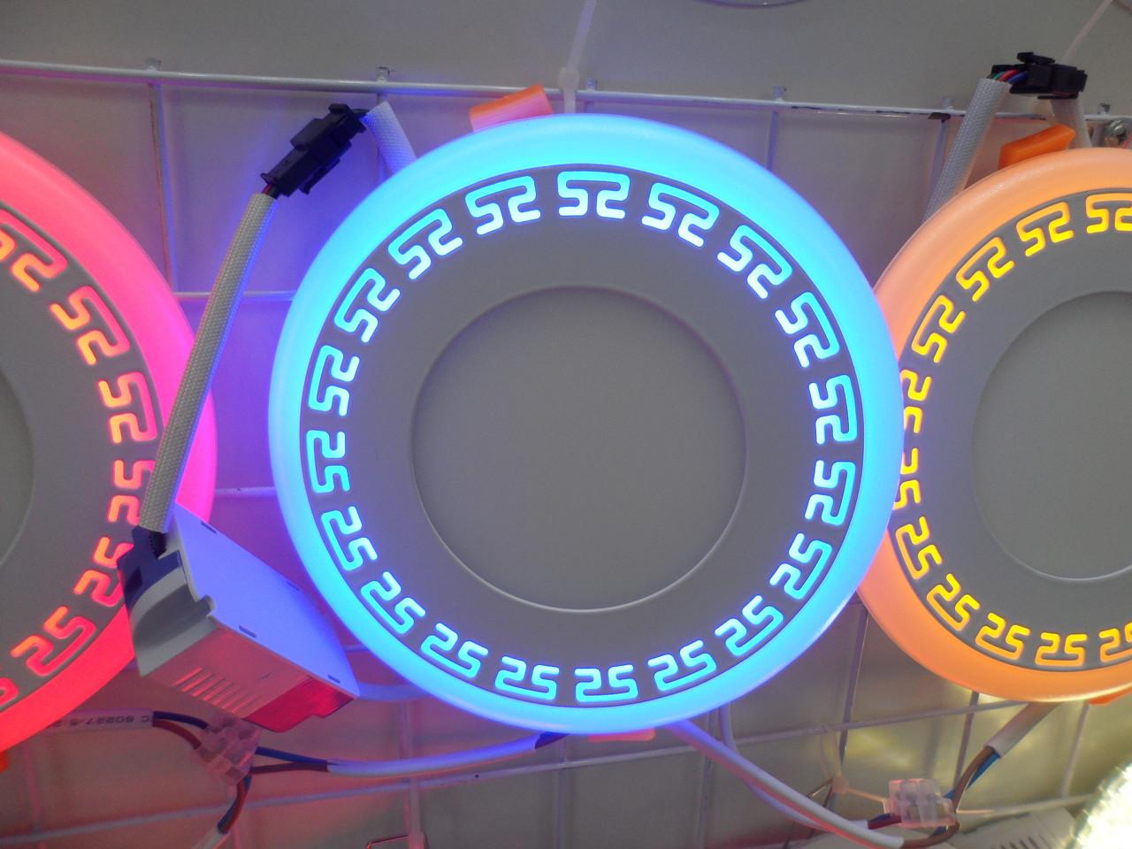 LED панель Lemanso LM555 Грек круг 6+3W синяя подсветка 540Lm 4500K