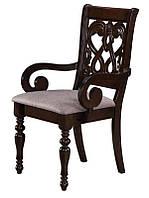 Резное кресло Орион, деревянное кресло с мягким сиденьем камель, каркас дуб дымчатый