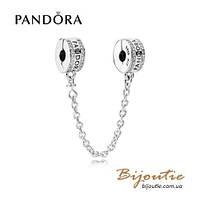 Pandora защитная цепочка С ЛОГОТИПОМ PANDORA #792057CZ серебро 925 Пандора оригинал