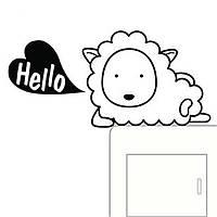"""Интерьерная виниловая наклейка на выключатель """"Hello Овечка"""", 3D дизайн"""