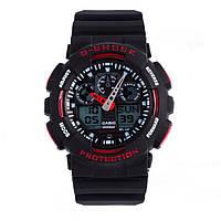 Мужские часы Casio G-Shock GA 100 Black Red(реплика)