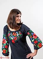 Женская блуза вышиванка из льна с длинным рукавом