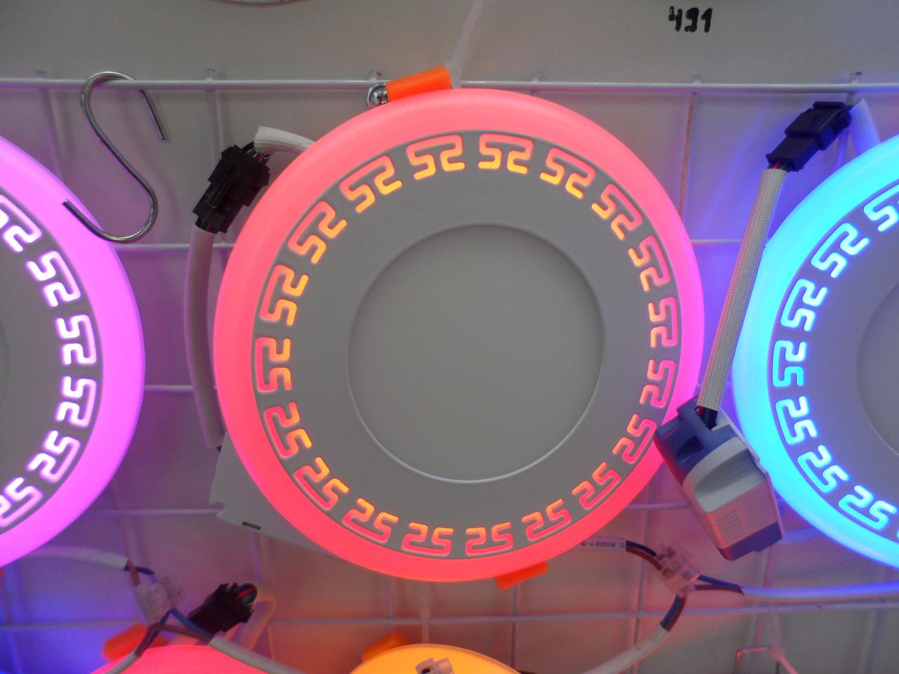 LED панель Lemanso LM543 Грек круг 12+6W красная подсветка 1080Lm 4500K
