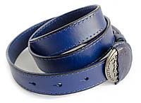 Тонкий брендовый женский ремень DIESEL из 100% натуральной кожи в темно синем цвете с оригинальной пряжкой
