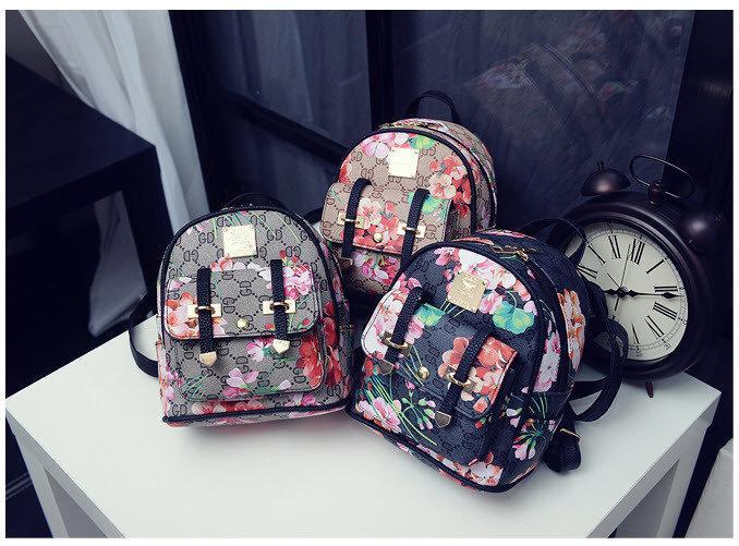 d52ef7cb85c0 Городской мини рюкзак с цветочным принтом в стиле Gucci. Яркий женский  рюкзак. Отличное качество