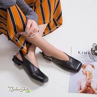 Кожаные черные туфли босоножки на низком каблуке с открытой пяткой