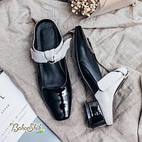 Лаковые туфли с открытой пяткой на низком каблуке