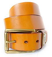 Оригенальный мужской кожаный ремень в коричневом цвете Calvin Klein с элегантной пряжкой (11239)