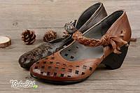 Кожаные туфли летние на каблуке цвет серо коричневый новинка 2017