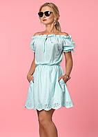 Женское летнее платье мятного цвета с коротким рукавом. Модель 985, коллекция весна-лето 2017.