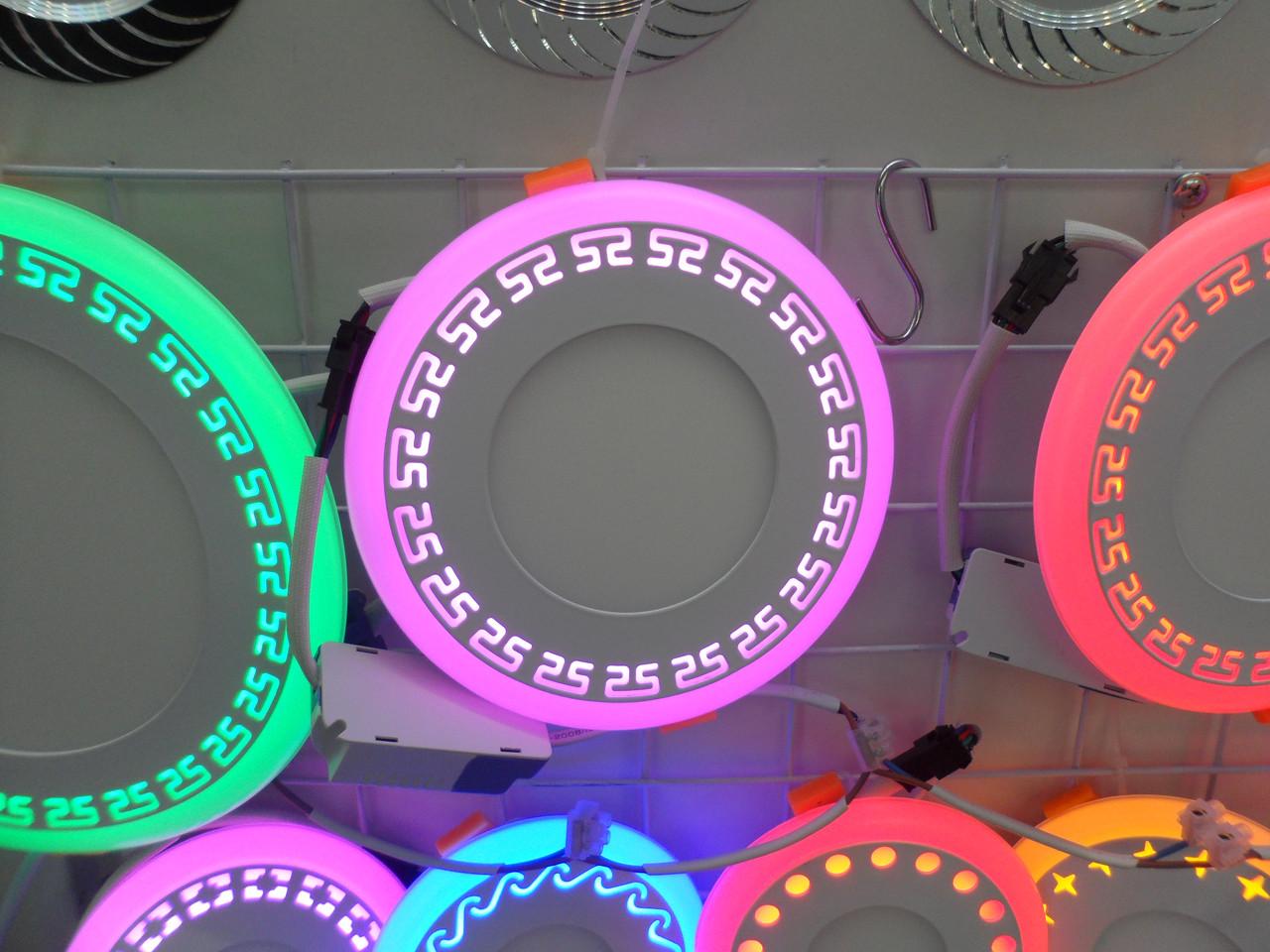 LED панель Lemanso LM548 Грек круг 18+6W розовая подсветка 1440Lm 4500K