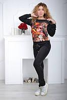 Гламурный спортивный костюм женский с камнями Турция с цветочным принтом  по 54 размер, фото 1