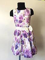 Нарядное платье для девочек сиреневые цветы р. 4, 7 лет