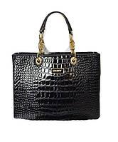Брендовая женская лаковая сумочка черная большая