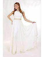 Нарядное шифоновое  платье с кружевным верхом и золотым поясом.