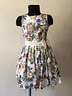 Нарядное платье белое с цветами р. 4-7 лет
