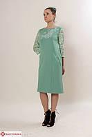 Нарядное платье с вышивкой прямого фасона и гипюровые рукава