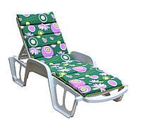 Матрас для лежака Onda 188x57x5 хлопок зеленый с розовыми кругами