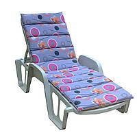 Матрас для лежака Onda 188x57x5 хлопок серый с оранжевыми цветами