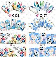 Слайдер дизайн Maxi, на весь ноготь, большие цветы и бабочки