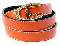Тонкий женский ремень SALVATORE FERRAGAMO выполнен из натуральной 100% кожи в оранжевом цвете (12665)