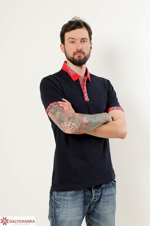 Стильная мужская футболка-поло с вышитым воротником и рукава