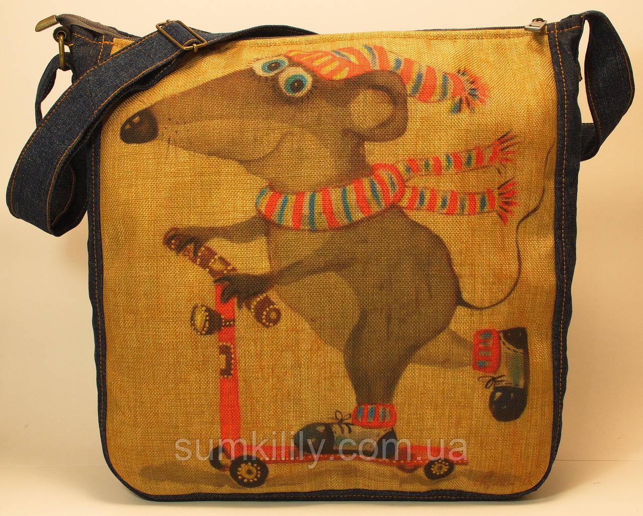 Джинсовая сумочка Мышка на самокате