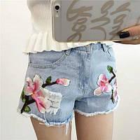 Шорты джинсовые с вышивкой орхидея, фото 1