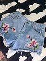 Шорты джинсовые с вышивкой орхидея, фото 2