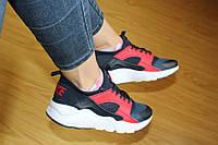 Женские кроссовки Nike Huarache, сетка, синие с красным / кроссовки женские Найк Хуарачи, модные