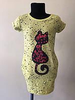 Модное платье - туника с кошечкой для  девочек р. 128