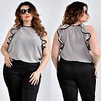 Серая легкая блузка для полных женщин 0503
