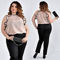 Розовая легкая блузка для полных женщин 0503