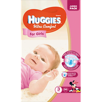 Huggies Ultra Comfort for Girls 3 ( 5-9кг) 56 шт