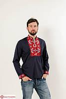 Традиционная мужская сорочка вышиванка из хлопка с красным орнаментом