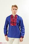 Традиционная мужская сорочка вышиванка белая с красным орнаментом крестиком, фото 2
