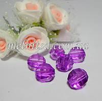 Бусины пластиковые, граненные,  10 мм, цвет фиолетовый, 10 шт