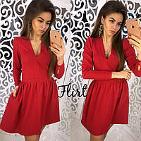 Стильное женское красное платье с V-образным вырезом и длинными рукавами. Арт-1291/49