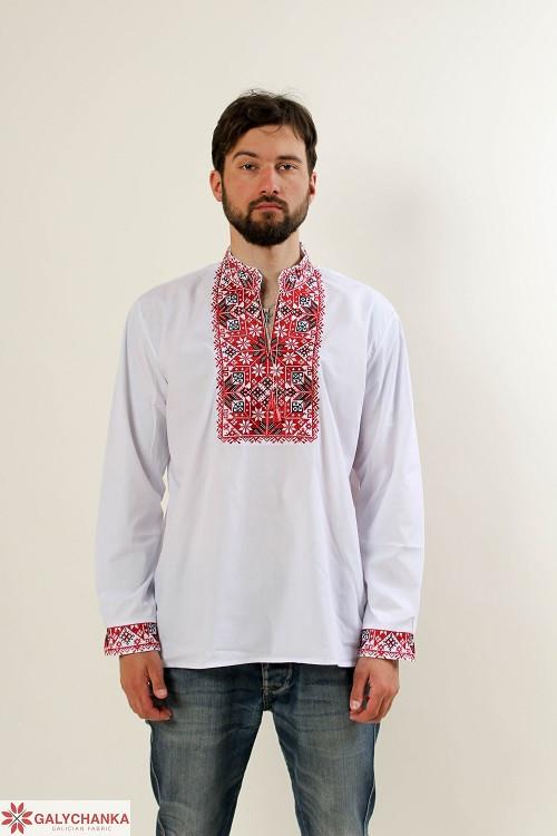 Традиционная мужская сорочка вышиванка белая с красным орнаментом крестиком