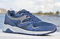 Кроссовки летние мужские сетка, искусственная замша удобные темно синие
