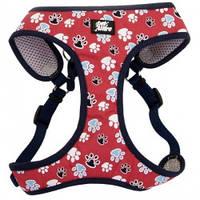 Шлея для собак Coastal Designer Wrap, 40,6-48,3см, 3,2-4,5кг, красный с лапками.