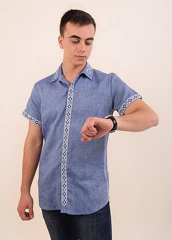Топ продаж Стильная молодежная мужская сорочка с кротким рукавом урашена машинной  вышивкой 3de72bdef217d