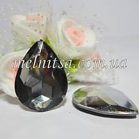"""Кабошон-кристалл """"Капля"""" с гранями, под оправу, цвет серый,  25х18мм, 1 шт."""