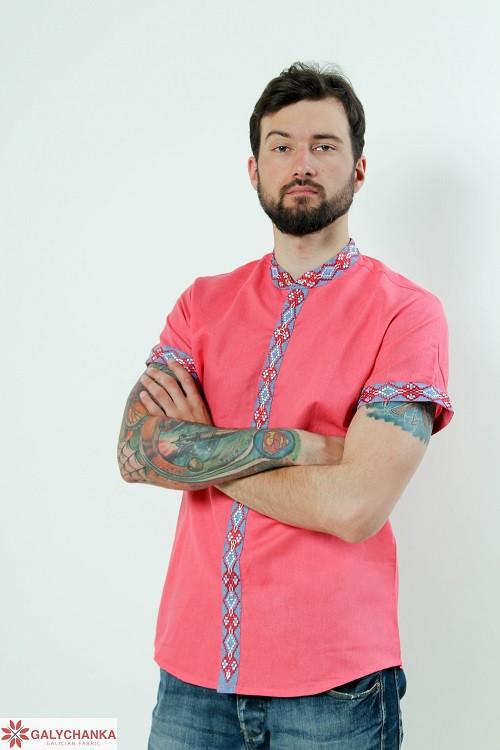 Праздничная мужская сорочка из льна воротник с рукава расшиты вышивкой