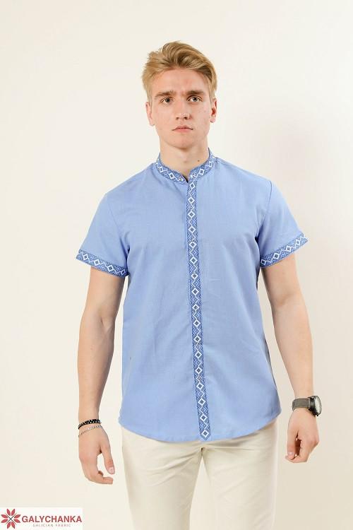 Красивая мужская сорочка вышиванка с коротким рукавом