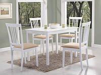 Стол деревянный кухонный обеденный на кухню столовый белый FIORD 110x70 ( Signal)